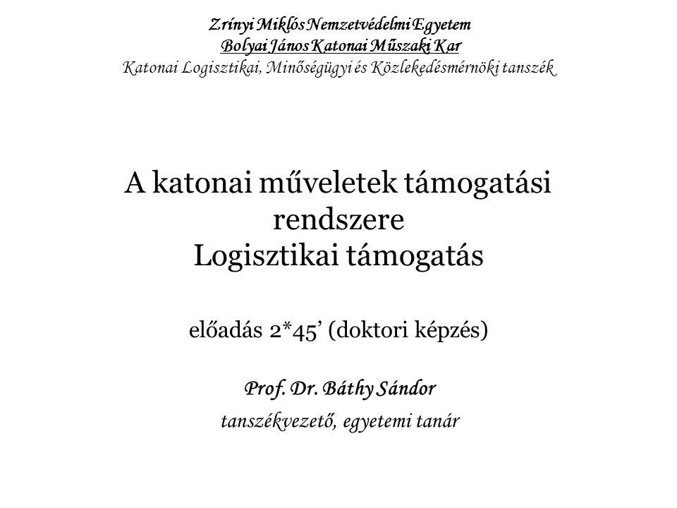 A katonai műveletek támogatási rendszere Logisztikai támogatás előadás 2*45' (doktori képzés) Prof.