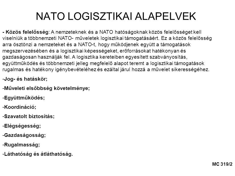 NATO LOGISZTIKAI ALAPELVEK - Közös felelősség: A nemzeteknek és a NATO hatóságoknak közös felelősséget kell viselniük a többnemzeti NATO- műveletek logisztikai támogatásáért.