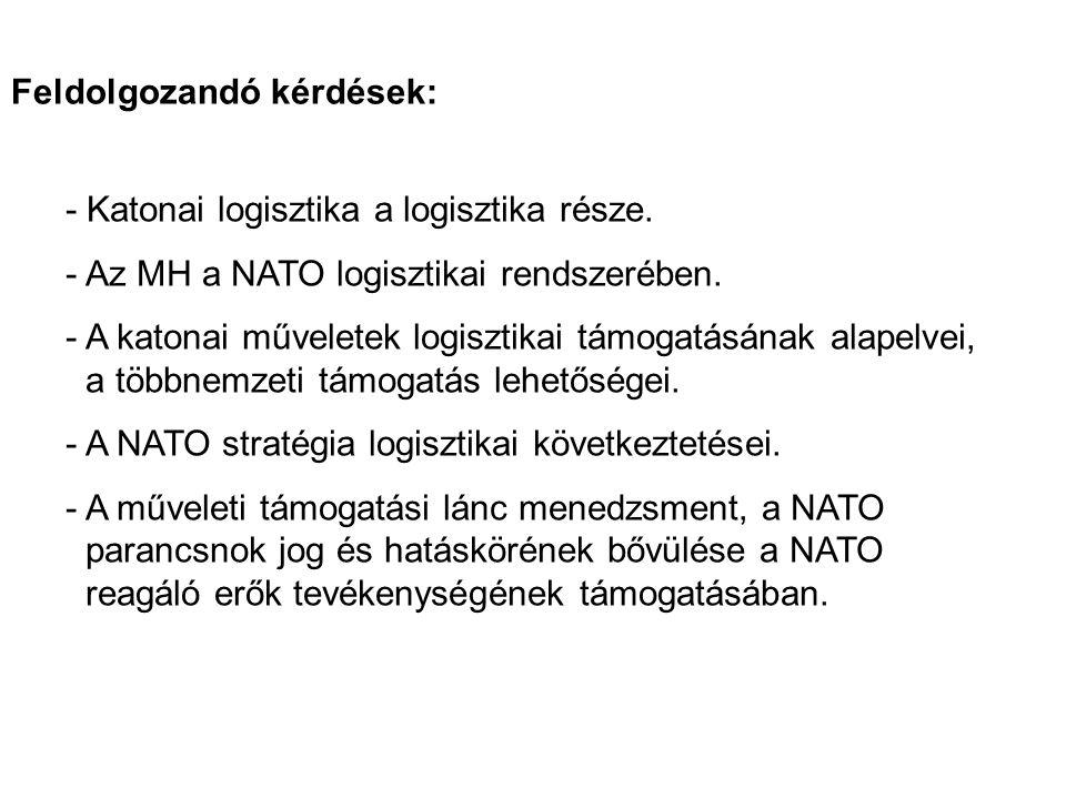 - Katonai logisztika a logisztika része.-Az MH a NATO logisztikai rendszerében.