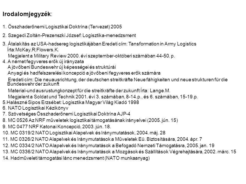 1.Összhaderőnemi Logisztikai Doktrína (Tervezet) 2005 2.