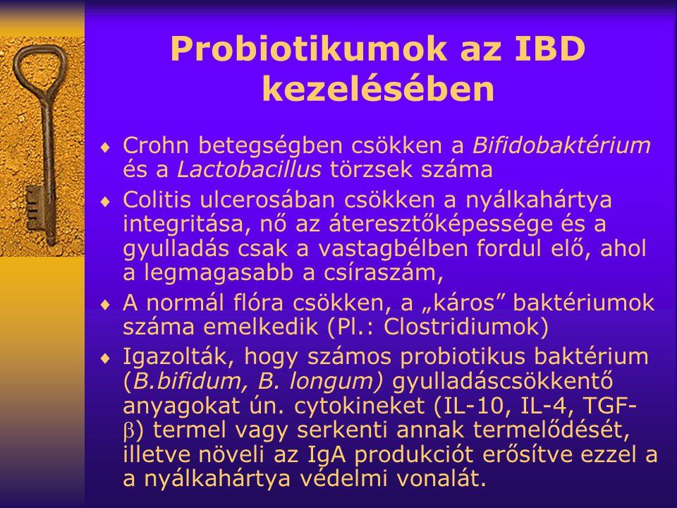 """Probiotikumok az IBD kezelésében  Crohn betegségben csökken a Bifidobaktérium és a Lactobacillus törzsek száma  Colitis ulcerosában csökken a nyálkahártya integritása, nő az áteresztőképessége és a gyulladás csak a vastagbélben fordul elő, ahol a legmagasabb a csíraszám,  A normál flóra csökken, a """"káros baktériumok száma emelkedik (Pl.: Clostridiumok)  Igazolták, hogy számos probiotikus baktérium (B.bifidum, B."""