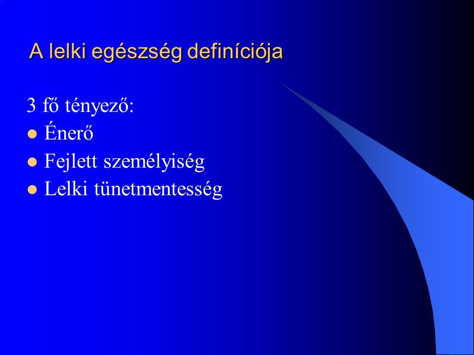 A lelki egészség definíciója 3 fő tényező:  Énerő  Fejlett személyiség  Lelki tünetmentesség