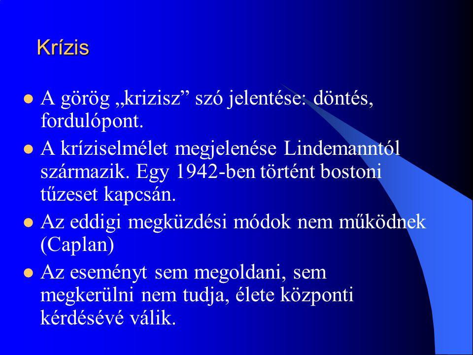 """Krízis  A görög """"krizisz"""" szó jelentése: döntés, fordulópont.  A kríziselmélet megjelenése Lindemanntól származik. Egy 1942-ben történt bostoni tűze"""
