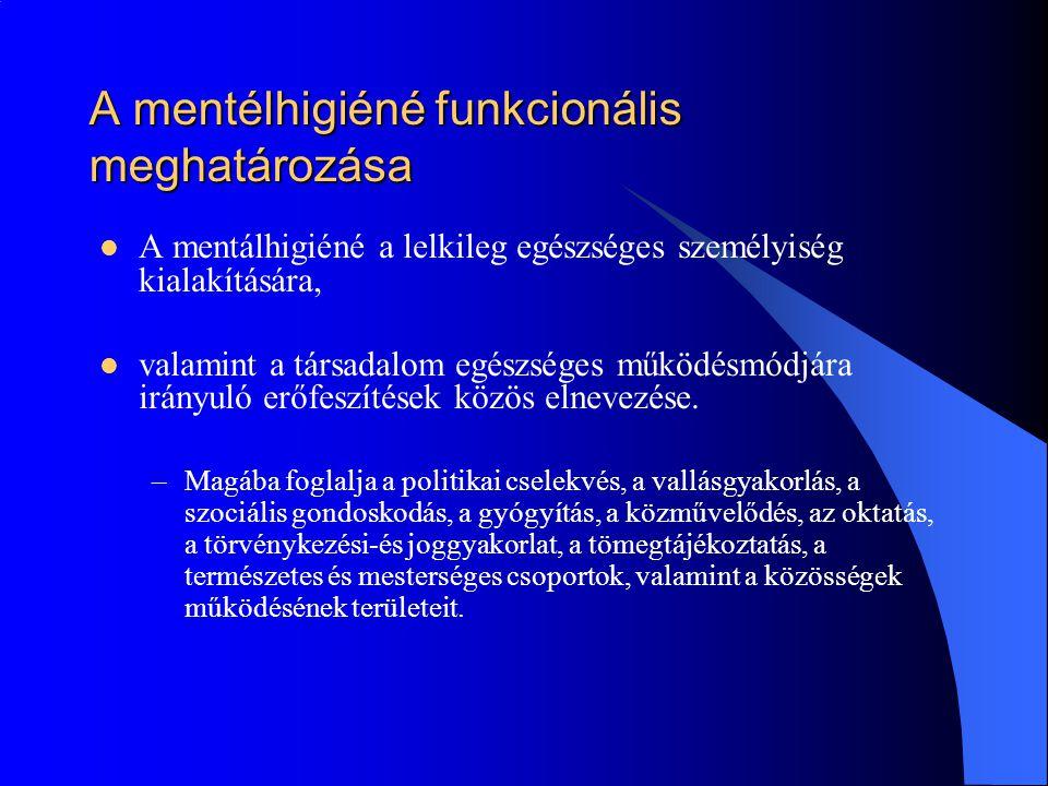 A mentélhigiéné funkcionális meghatározása  A mentálhigiéné a lelkileg egészséges személyiség kialakítására,  valamint a társadalom egészséges működ