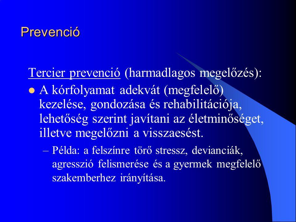 Prevenció Tercier prevenció (harmadlagos megelőzés):  A kórfolyamat adekvát (megfelelő) kezelése, gondozása és rehabilitációja, lehetőség szerint jav