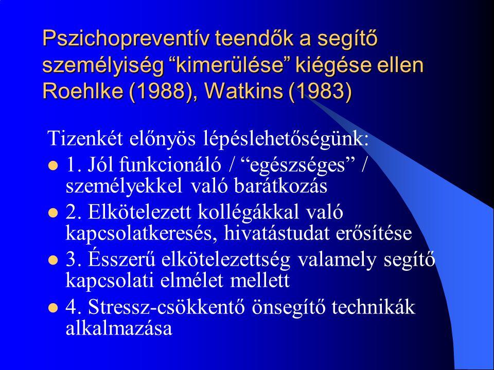"""Pszichopreventív teendők a segítő személyiség """"kimerülése"""" kiégése ellen Roehlke (1988), Watkins (1983) Tizenkét előnyös lépéslehetőségünk:  1. Jól f"""