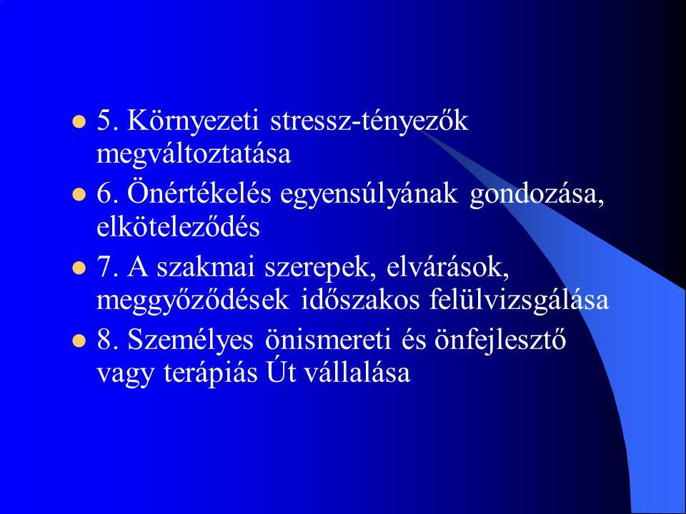  5. Környezeti stressz-tényezők megváltoztatása  6. Önértékelés egyensúlyának gondozása, elköteleződés  7. A szakmai szerepek, elvárások, meggyőződ