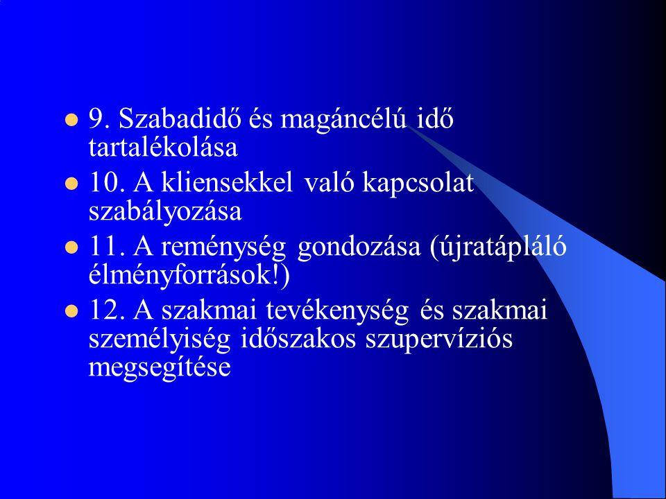 9. Szabadidő és magáncélú idő tartalékolása  10. A kliensekkel való kapcsolat szabályozása  11. A reménység gondozása (újratápláló élményforrások!