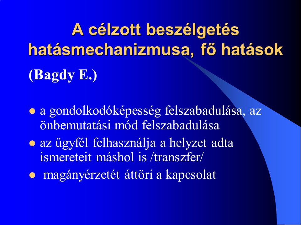 A célzott beszélgetés hatásmechanizmusa, fő hatások (Bagdy E.)  a gondolkodóképesség felszabadulása, az önbemutatási mód felszabadulása  az ügyfél f