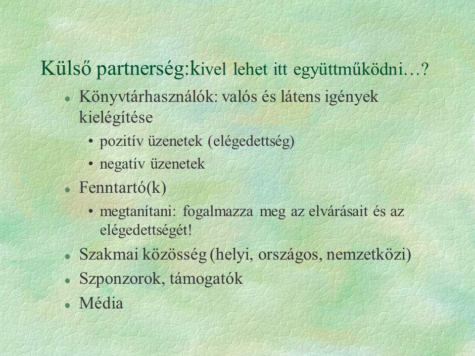 Külső partnerség:k ivel lehet itt együttműködni…? l Könyvtárhasználók: valós és látens igények kielégítése •pozitív üzenetek (elégedettség) •negatív ü