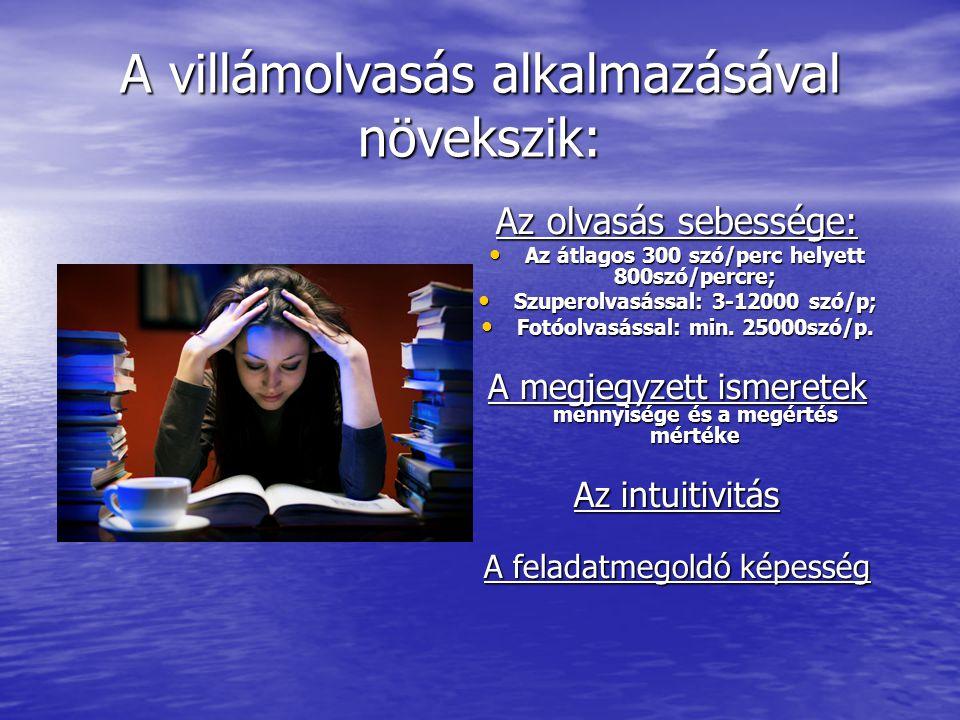 A villámolvasás alkalmazásával növekszik: Az olvasás sebessége: • Az átlagos 300 szó/perc helyett 800szó/percre; • Szuperolvasással: 3-12000 szó/p; •