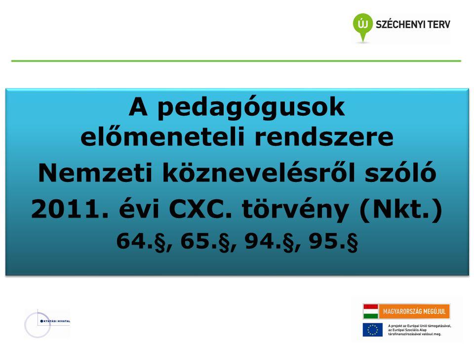 A pedagógusok előmeneteli rendszere Nemzeti köznevelésről szóló 2011. évi CXC. törvény (Nkt.) 64.§, 65.§, 94.§, 95.§ A pedagógusok előmeneteli rendsze