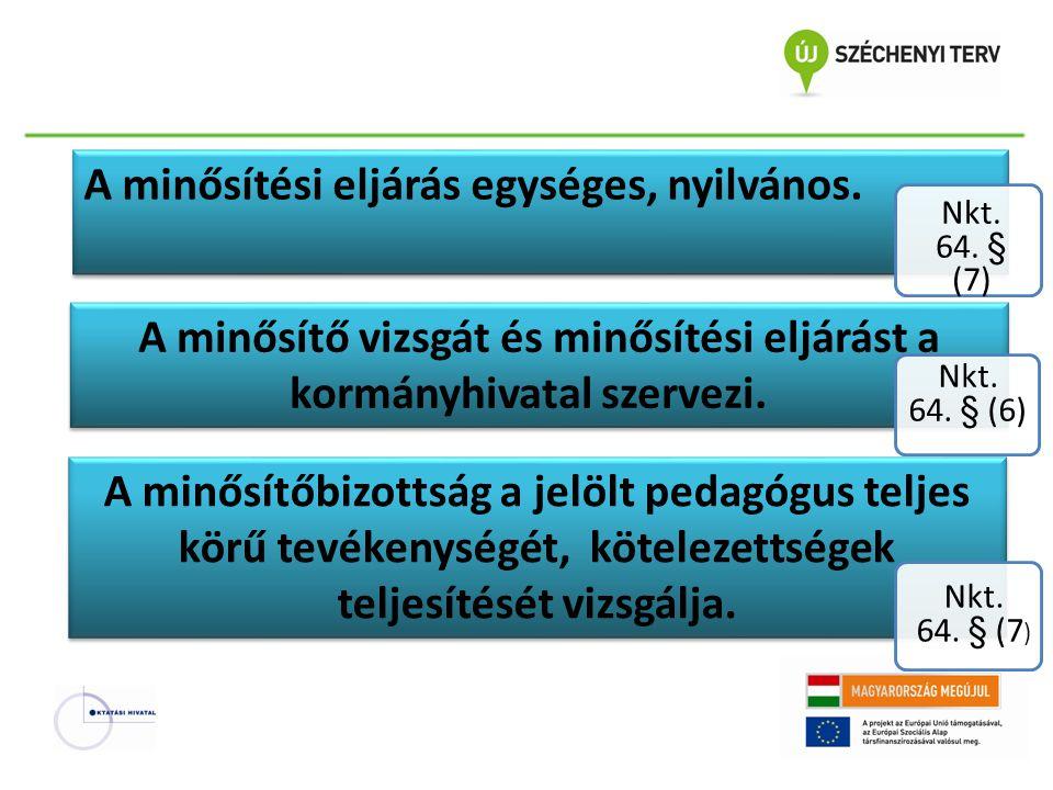 A minősítési eljárás egységes, nyilvános. Nkt. 64. § (7) A minősítő vizsgát és minősítési eljárást a kormányhivatal szervezi. A minősítőbizottság a je