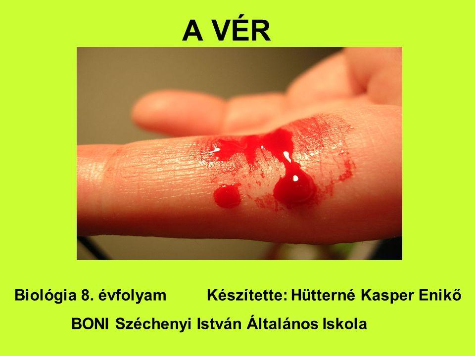 A VÉR Biológia 8. évfolyam Készítette: Hütterné Kasper Enikő BONI Széchenyi István Általános Iskola