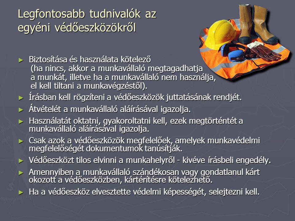 Legfontosabb tudnivalók az egyéni védőeszközökről ► Biztosítása és használata kötelező (ha nincs, akkor a munkavállaló megtagadhatja (ha nincs, akkor
