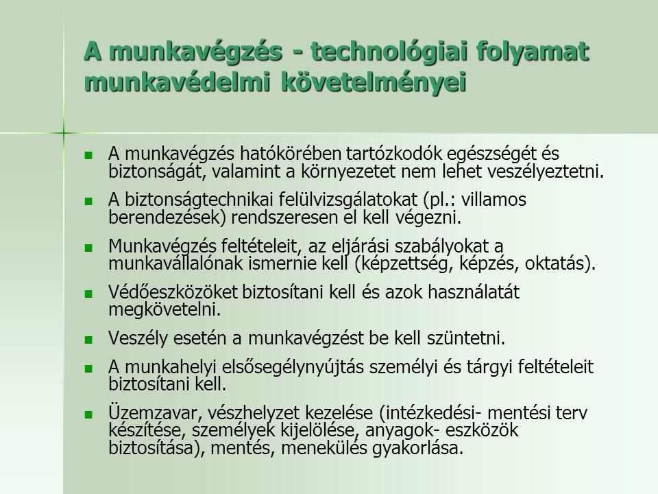 A munkavégzés - technológiai folyamat munkavédelmi követelményei   A munkavégzés hatókörében tartózkodók egészségét és biztonságát, valamint a körny