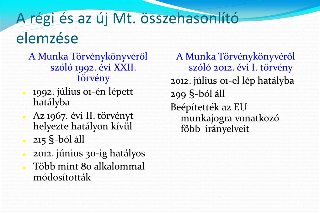A régi és az új Mt. összehasonlító elemzése A Munka Törvénykönyvéről szóló 1992. évi XXII. törvény  1992. július 01-én lépett hatályba  Az 1967. évi