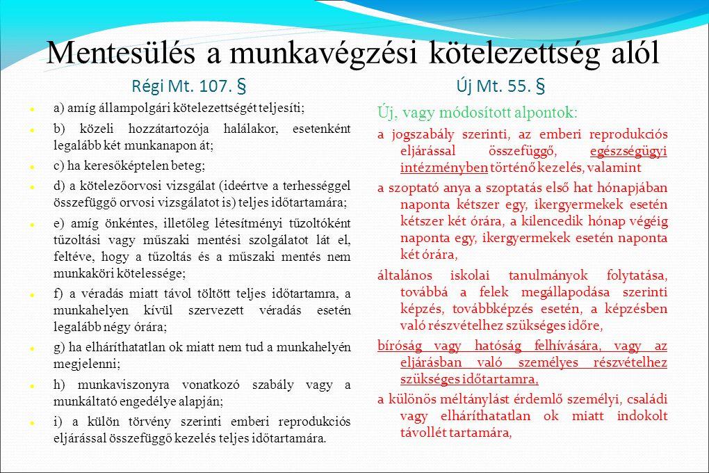 Mentesülés a munkavégzési kötelezettség alól Régi Mt. 107. § Új Mt. 55. §  a) amíg állampolgári kötelezettségét teljesíti;  b) közeli hozzátartozója