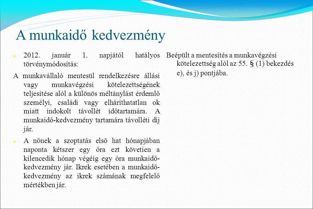 A munkaidő kedvezmény  2012. január 1. napjától hatályos törvénymódosítás: A munkavállaló mentesül rendelkezésre állási vagy munkavégzési kötelezetts