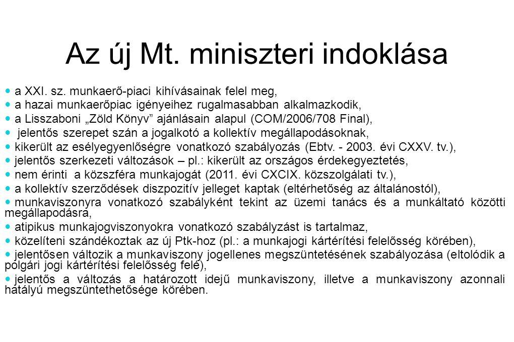 Az új Mt.miniszteri indoklása  a XXI. sz.