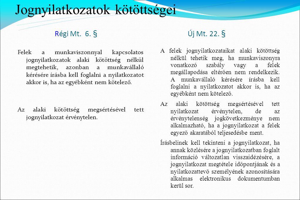 Jognyilatkozatok kötöttségei Régi Mt. 6. § Új Mt. 22. § Felek a munkaviszonnyal kapcsolatos jognyilatkozatok alaki kötöttség nélkül megtehetik, azonba