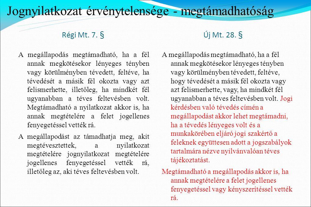 Jognyilatkozat érvénytelensége - megtámadhatóság Régi Mt. 7. § Új Mt. 28. § A megállapodás megtámadható, ha a fél annak megkötésekor lényeges tényben