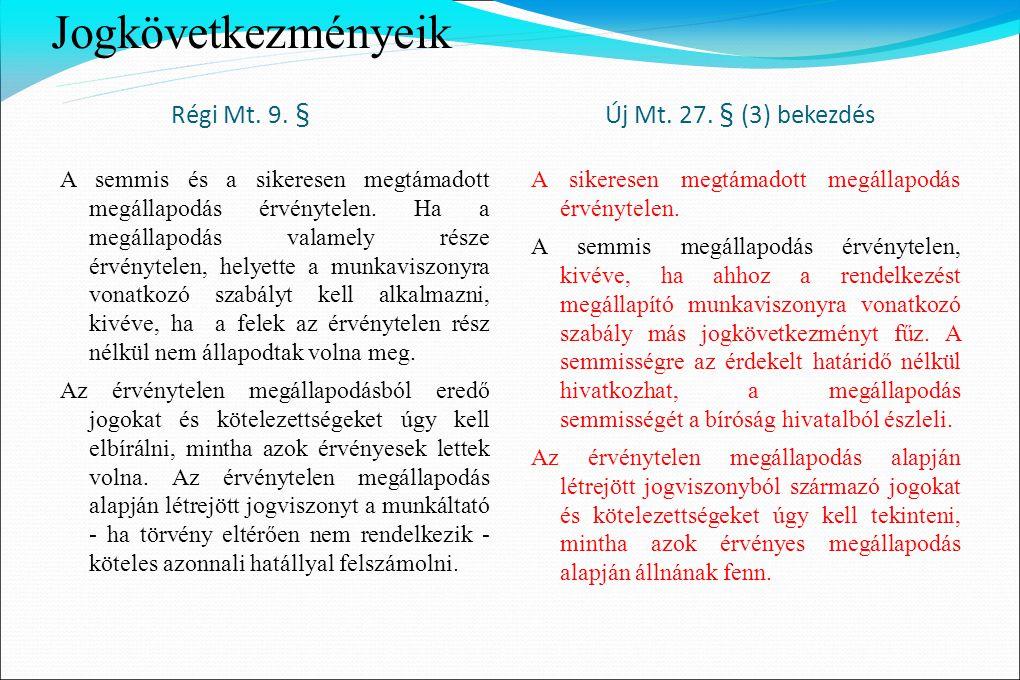 Jogkövetkezményeik Régi Mt. 9. § Új Mt. 27. § (3) bekezdés A semmis és a sikeresen megtámadott megállapodás érvénytelen. Ha a megállapodás valamely ré