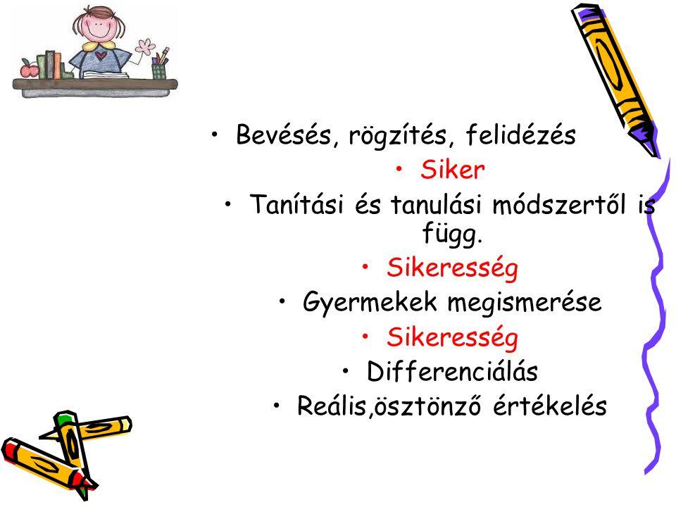 •Bevésés, rögzítés, felidézés •Siker •Tanítási és tanulási módszertől is függ. •Sikeresség •Gyermekek megismerése •Sikeresség •Differenciálás •Reális,