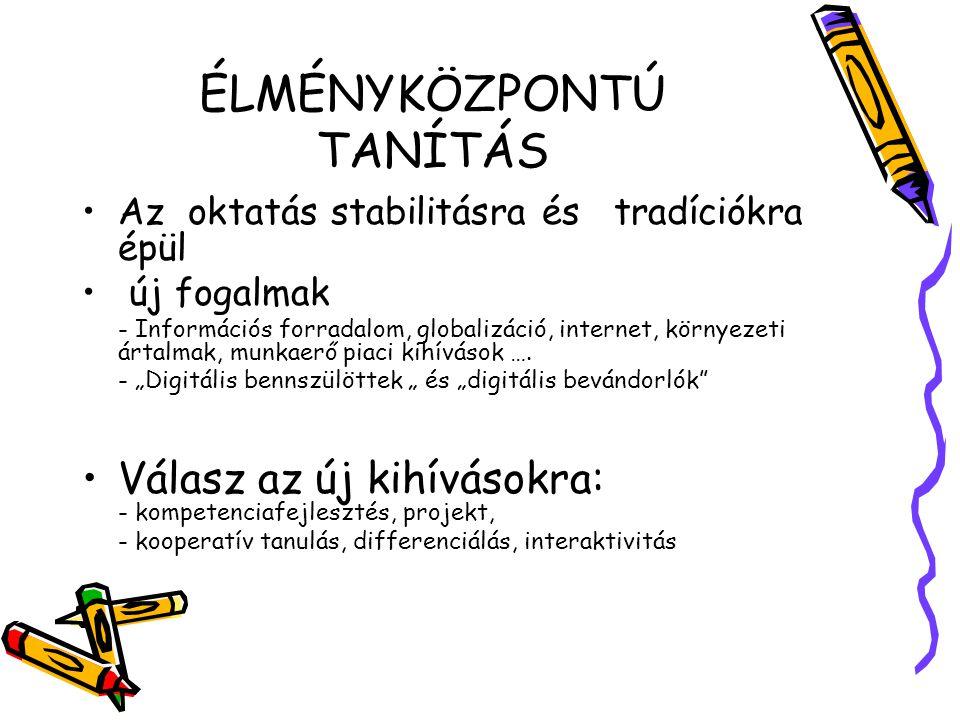 ÉLMÉNYKÖZPONTÚ TANÍTÁS •Az oktatás stabilitásra és tradíciókra épül • új fogalmak - Információs forradalom, globalizáció, internet, környezeti ártalma
