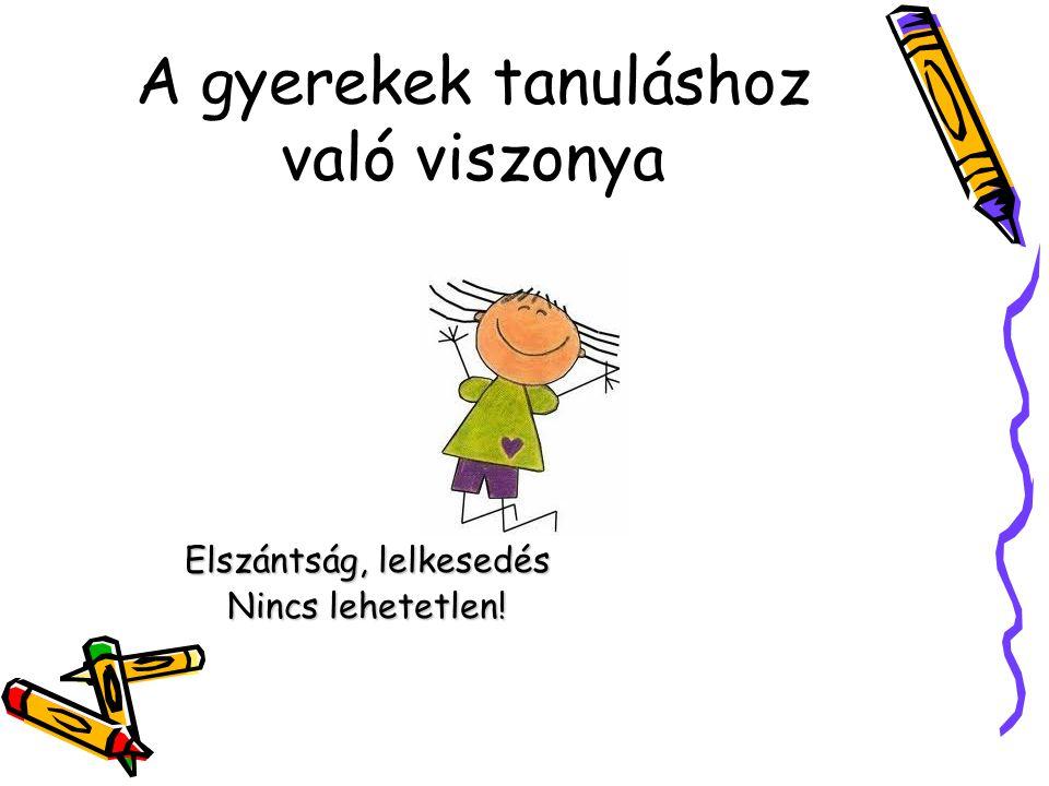 A gyerekek tanuláshoz való viszonya Elszántság, lelkesedés Nincs lehetetlen!