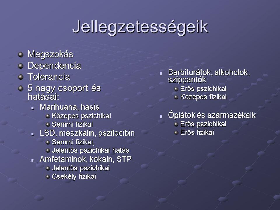 Jellegzetességeik MegszokásDependenciaTolerancia 5 nagy csoport és hatásai:  Marihuana, hasis Közepes pszichikai Semmi fizikai  LSD, meszkalin, pszi