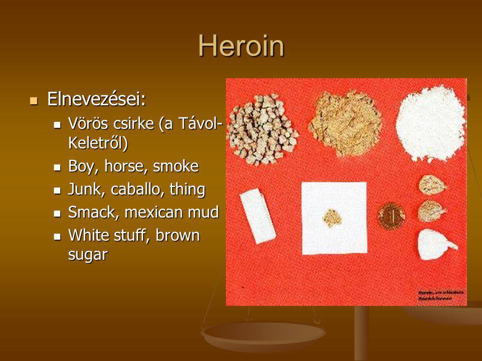 Heroin  Elnevezései:  Vörös csirke (a Távol- Keletről)  Boy, horse, smoke  Junk, caballo, thing  Smack, mexican mud  White stuff, brown sugar
