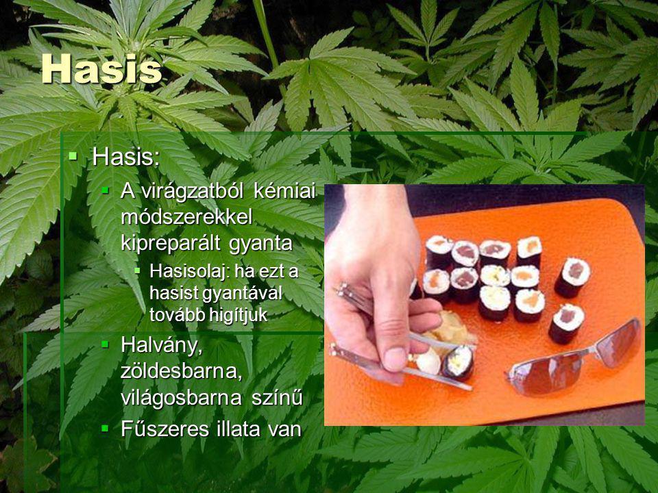 Hasis  Hasis:  A virágzatból kémiai módszerekkel kipreparált gyanta  Hasisolaj: ha ezt a hasist gyantával tovább higítjuk  Halvány, zöldesbarna, v
