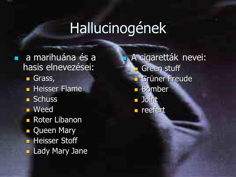 Hallucinogének  a marihuána és a hasis elnevezései:  Grass,  Heisser Flame  Schuss  Weed  Roter Libanon  Queen Mary  Heisser Stoff  Lady Mary