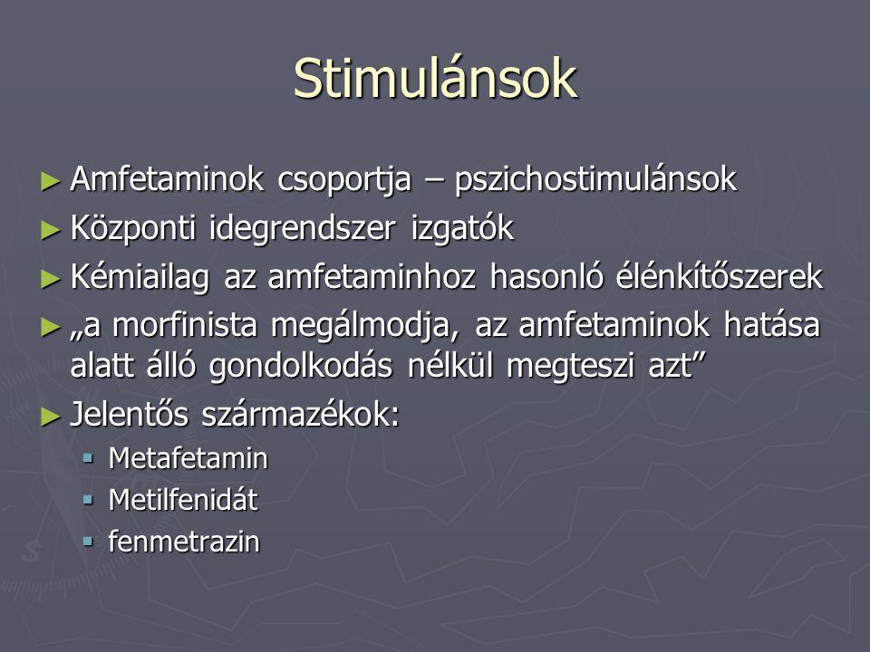 """Stimulánsok ► Amfetaminok csoportja – pszichostimulánsok ► Központi idegrendszer izgatók ► Kémiailag az amfetaminhoz hasonló élénkítőszerek ► """"a morfi"""