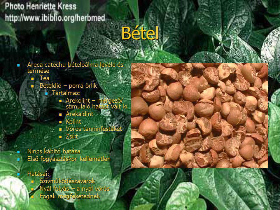 Bétel  Areca catechu bételpálma levele és termése  Tea  Bételdió – porrá őrlik  Tartalmaz:  Arekolint – mérgező/ stimuláló hatást vált ki  Areka