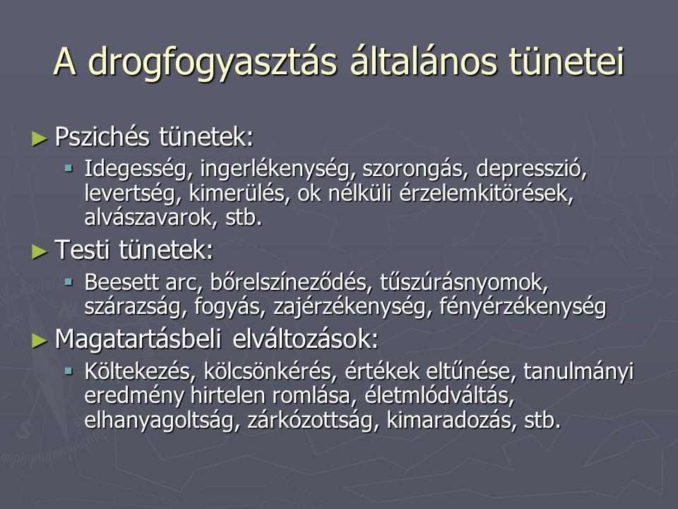 A drogfogyasztás általános tünetei ► Pszichés tünetek:  Idegesség, ingerlékenység, szorongás, depresszió, levertség, kimerülés, ok nélküli érzelemkit