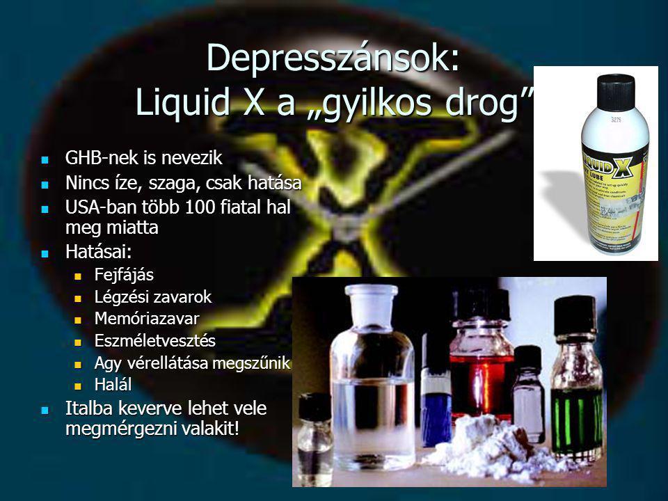 """Depresszánsok: Liquid X a """"gyilkos drog""""  GHB-nek is nevezik  Nincs íze, szaga, csak hatása  USA-ban több 100 fiatal hal meg miatta  Hatásai:  Fe"""