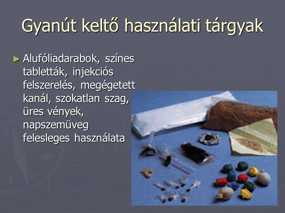 Gyanút keltő használati tárgyak ► Alufóliadarabok, színes tabletták, injekciós felszerelés, megégetett kanál, szokatlan szag, üres vények, napszemüveg