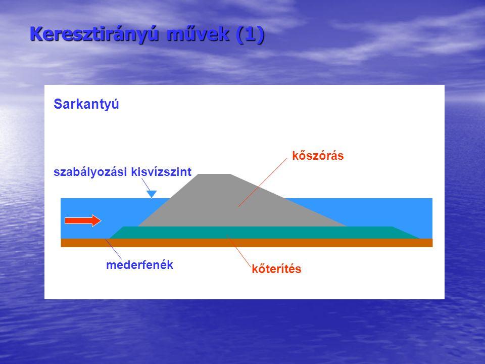 Keresztirányú művek (1) szabályozási kisvízszint mederfenék kőterítés kőszórás Sarkantyú