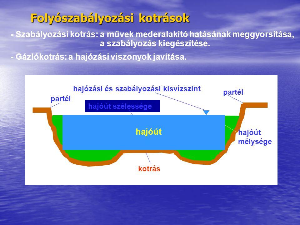 Folyószabályozási kotrások partél hajózási és szabályozási kisvízszint kotrás hajóút szélessége hajóút mélysége hajóút - Szabályozási kotrás: a művek