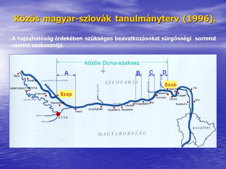 Közös magyar-szlovák tanulmányterv (1996). A hajózhatóság érdekében szükséges beavatkozásokat sürgősségi sorrend szerint szakaszolja. Szap Szob közös