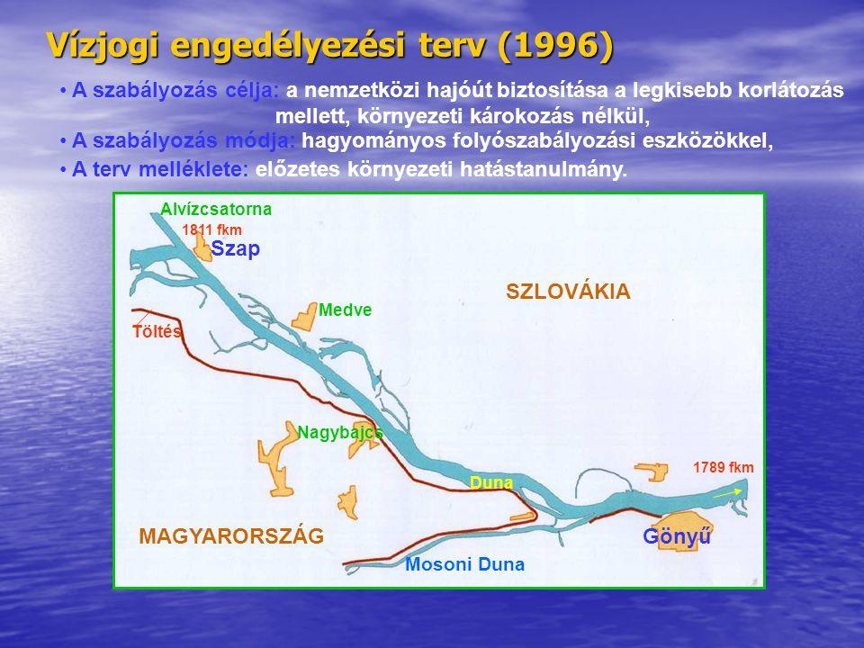 Vízjogi engedélyezési terv (1996) • A szabályozás célja: a nemzetközi hajóút biztosítása a legkisebb korlátozás mellett, környezeti károkozás nélkül,