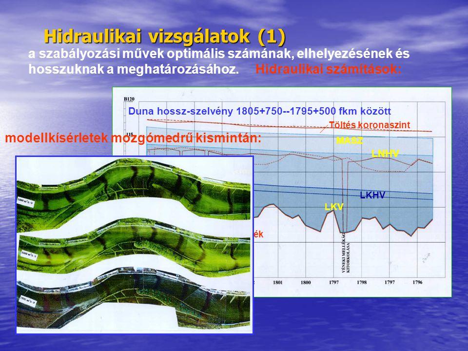 Hidraulikai vizsgálatok (1) a szabályozási művek optimális számának, elhelyezésének és hosszuknak a meghatározásához. Hidraulikai számítások: Duna hos