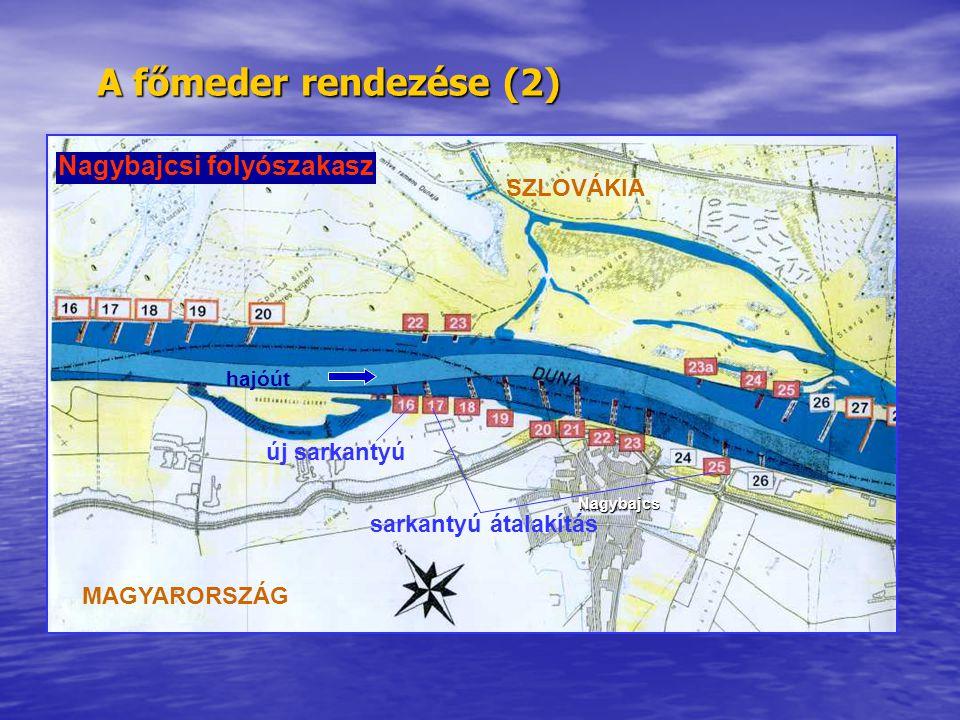 A főmeder rendezése (2) SZLOVÁKIA MAGYARORSZÁG hajóút új sarkantyú sarkantyú átalakítás Nagybajcsi folyószakasz Nagybajcs