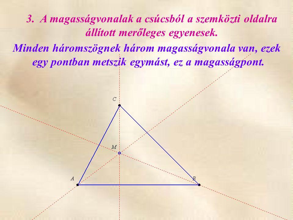3. A magasságvonalak a csúcsból a szemközti oldalra állított merőleges egyenesek. Minden háromszögnek három magasságvonala van, ezek egy pontban metsz