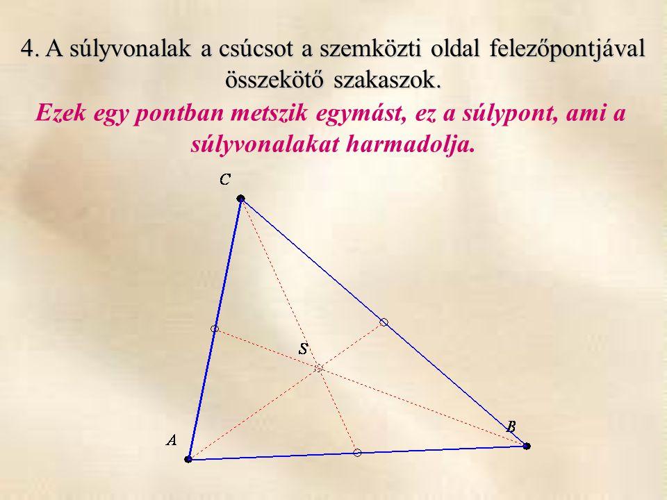 4. A súlyvonalak a csúcsot a szemközti oldal felezőpontjával összekötő szakaszok. Ezek egy pontban metszik egymást, ez a súlypont, ami a súlyvonalakat
