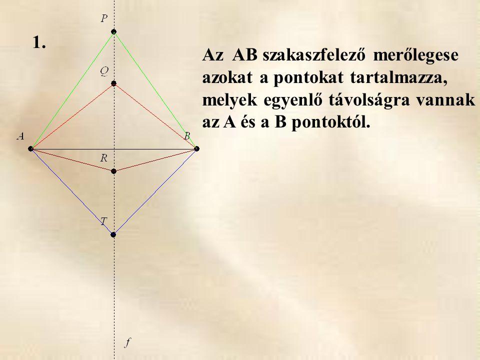 Az AB szakaszfelező merőlegese azokat a pontokat tartalmazza, melyek egyenlő távolságra vannak az A és a B pontoktól.