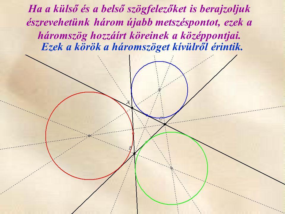 Ha a külső és a belső szögfelezőket is berajzoljuk észrevehetünk három újabb metszéspontot, ezek a háromszög hozzáírt köreinek a középpontjai. Ezek a