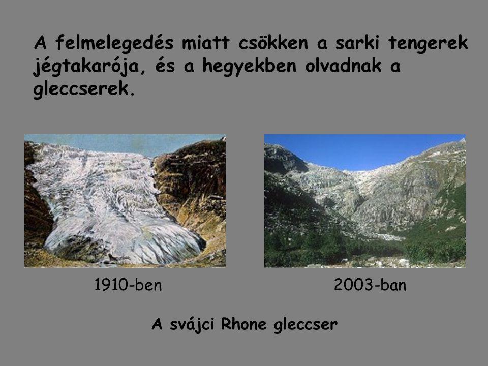 A felmelegedés miatt csökken a sarki tengerek jégtakarója, és a hegyekben olvadnak a gleccserek. A svájci Rhone gleccser 2003-ban1910-ben